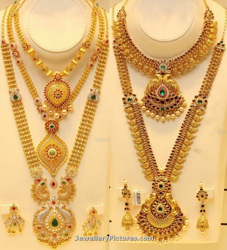 Checkout joyalukkas gold designs collection featuring haram designs in gold and latest necklace