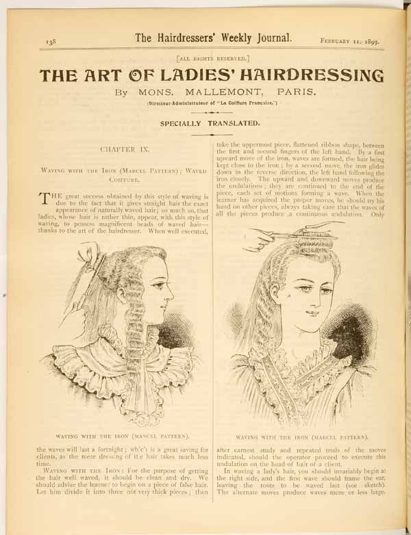 Hairstyles and hairdressing techniques from 1899.