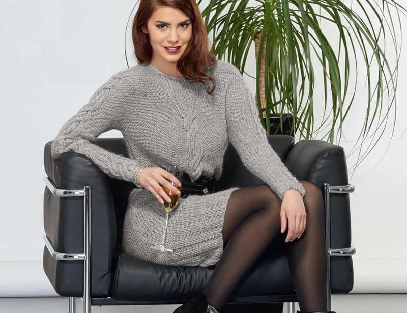 096fd383b0fa6c3 Серое мини-платье - схема вязания спицами. Вяжем Платья на Verena.ru ...