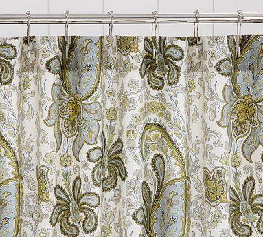 Charlie Paisley Organic Shower Curtain Potterybarn Blue Green
