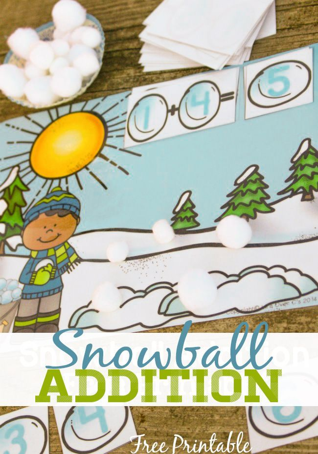 Free Printable for Addition to 10 Winter Theme | Schule und Kind