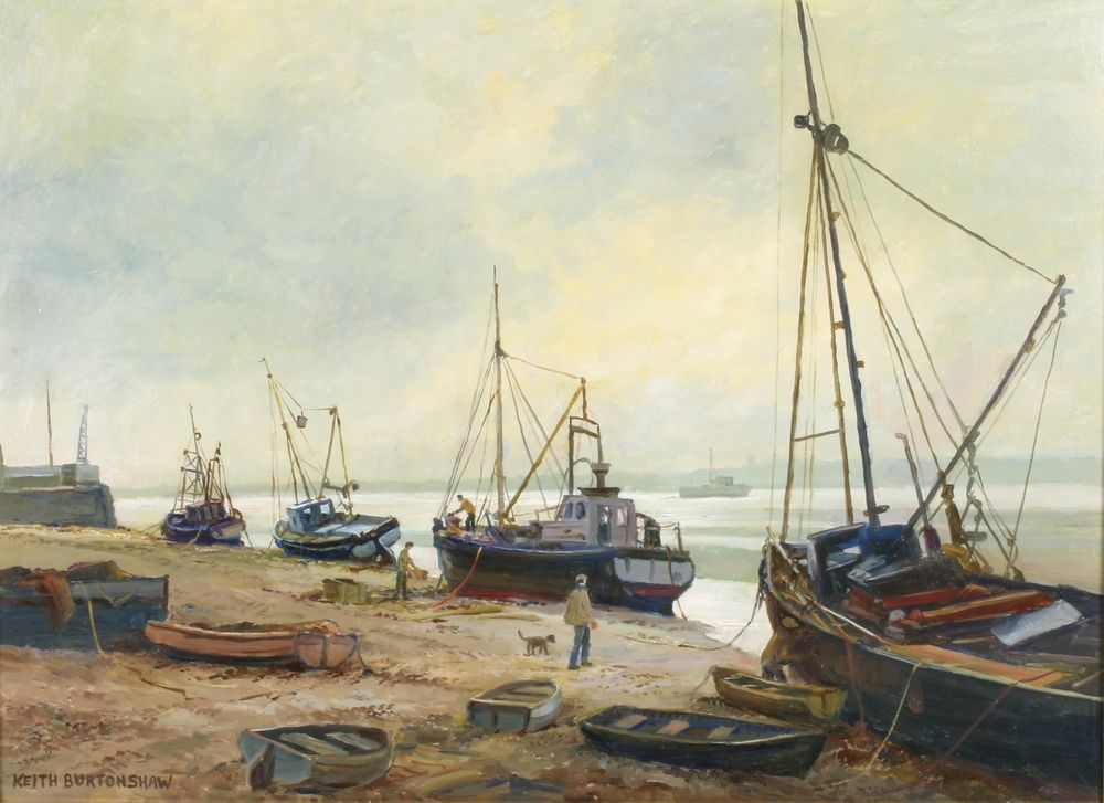 """Lot 406, Keith Burtonshaw, oil painting on board, Leigh on Sea, signed 15 1/2"""" x 21 1/4"""", Est £100-150"""