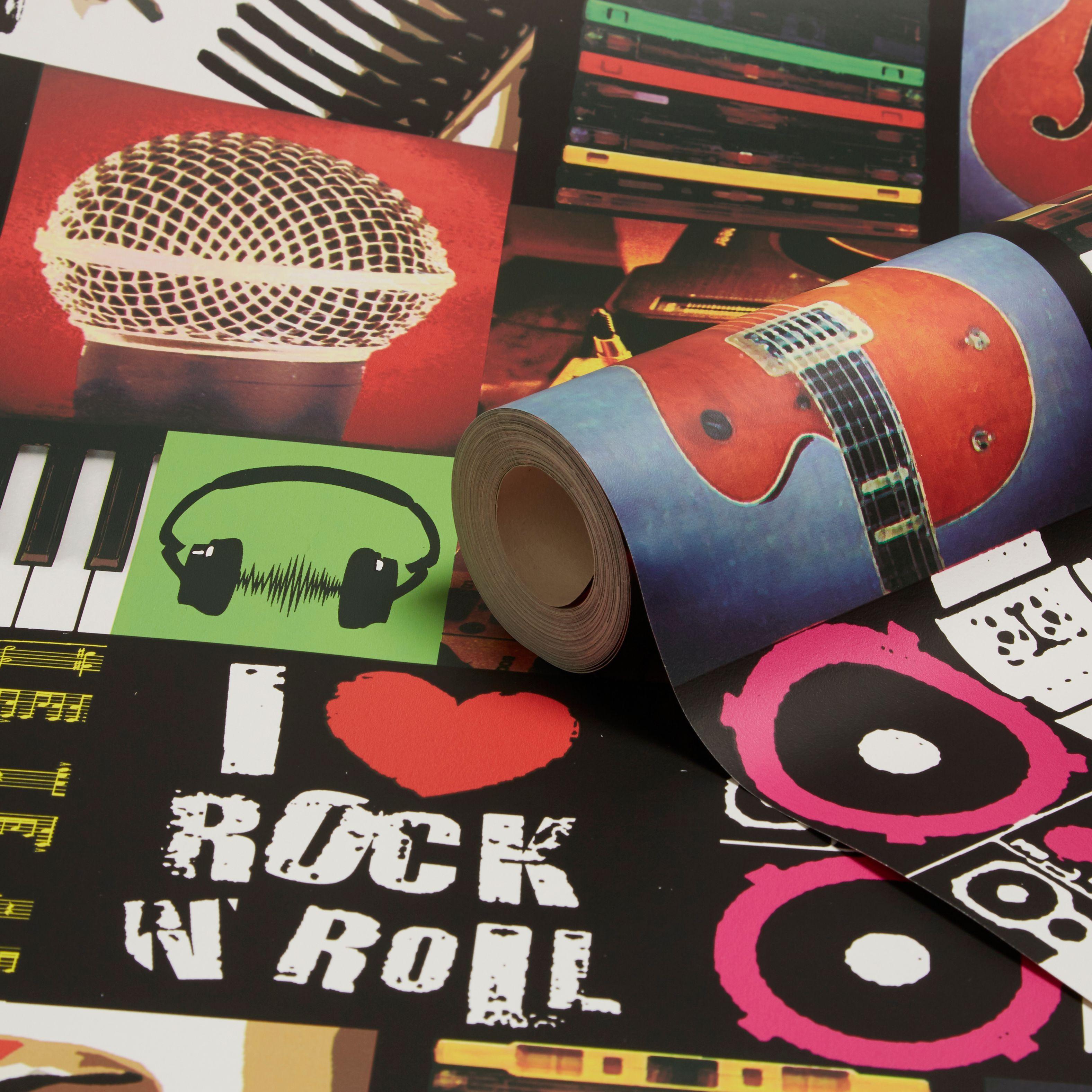 I Love Rock Roll Multi Wallpaper Departments Diy At B Q