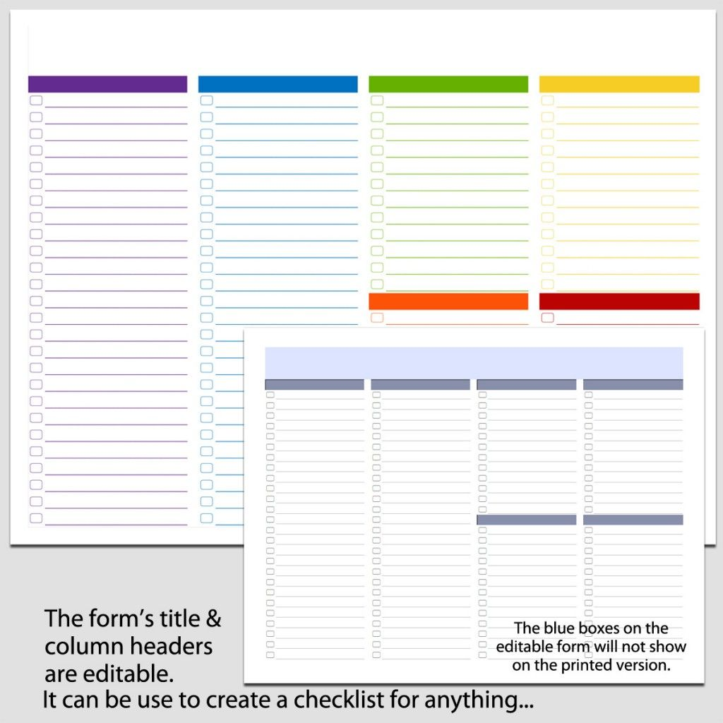 6 Column Checklist In Landscape 8 1 2 X 11 B