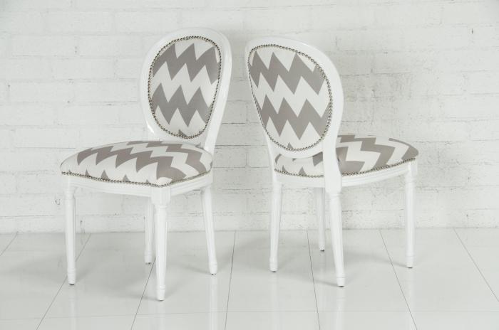 chevron print on classic chairs + nailhead trim = perfection