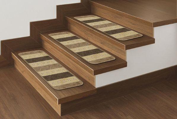 Best Ottomanson Softy Stair Treads Brown Striped Design Skid 400 x 300