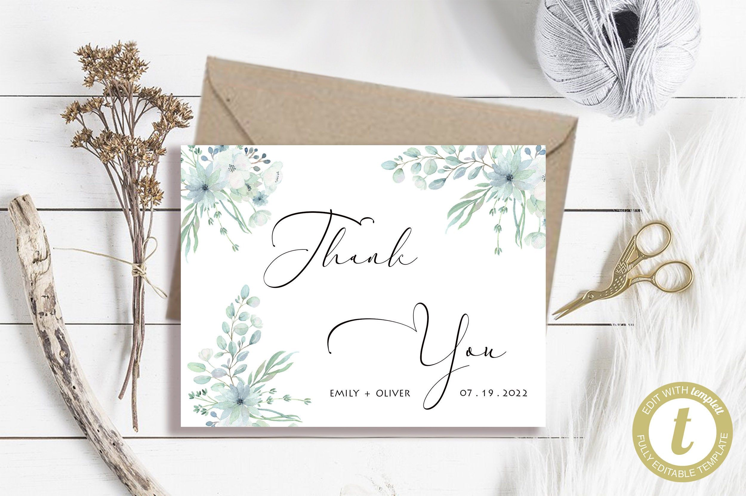 Editable thank you card instant download favor tag you