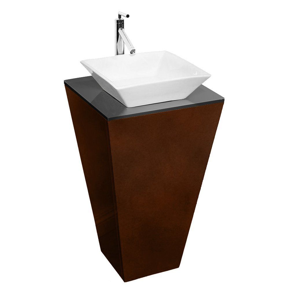 Wyndham Collection Esprit Pedestal Bathroom Vanity with Smoke