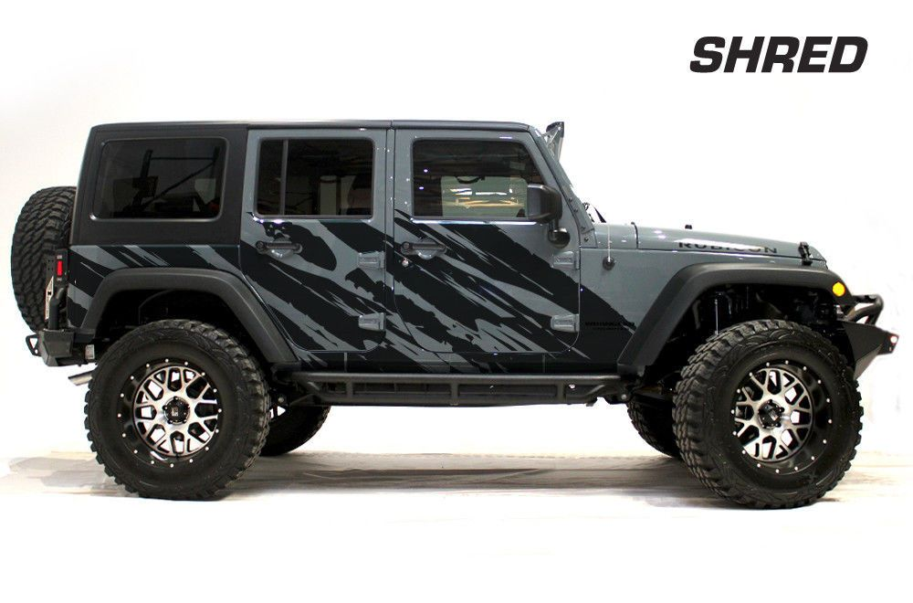 Jeep Wrangler Rubicon Custom Vinyl Graphics Decal 2 4 Kit 2007 2016 Black Shred Jeep Wrangler Rubicon 2007 Jeep Wrangler Jeep Wrangler