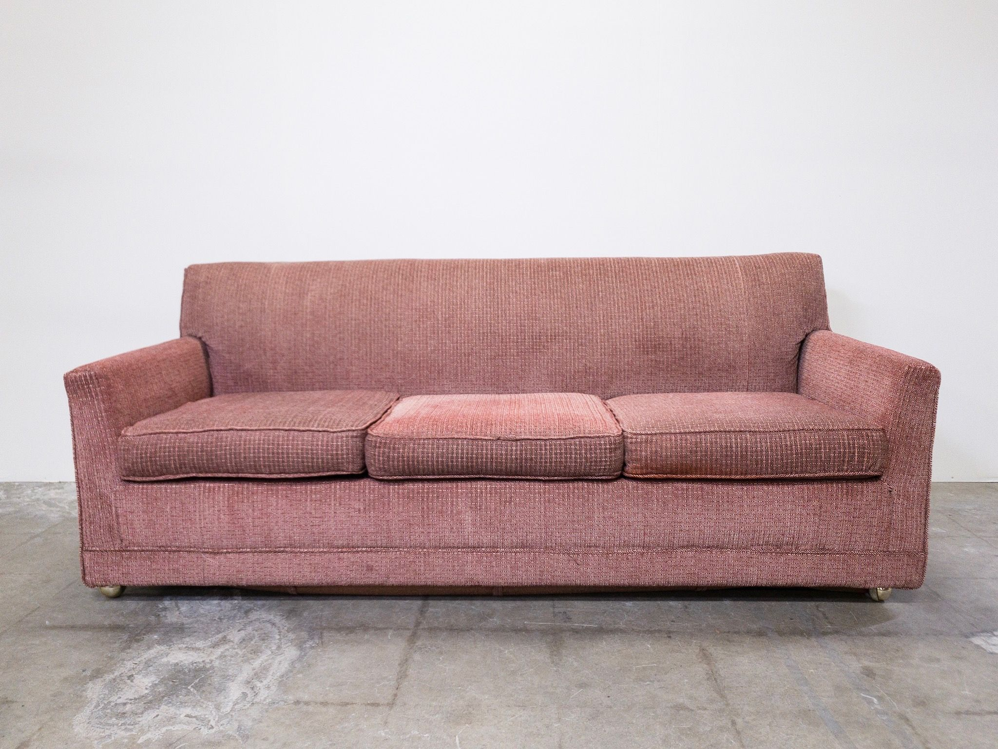"""Vintage Rosy Pink Classic Pullout Sofa 77""""W x 35""""D x 29""""H"""