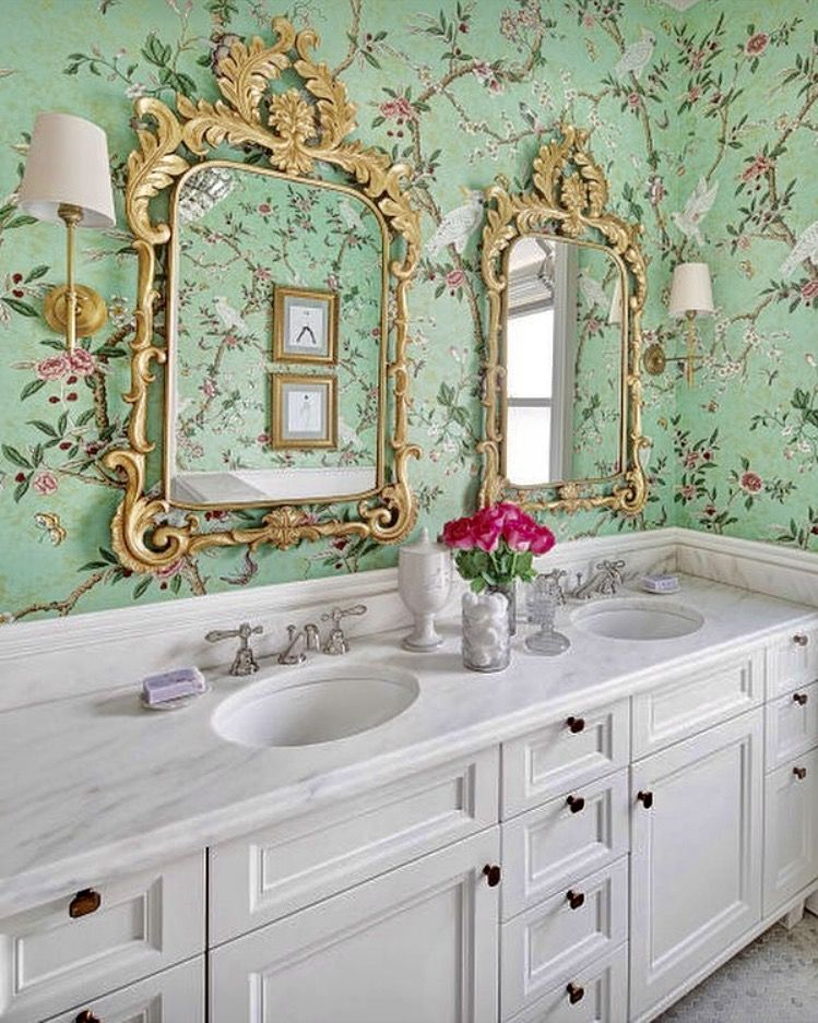chinoiserie bathroom (With images) Chinoiserie wallpaper