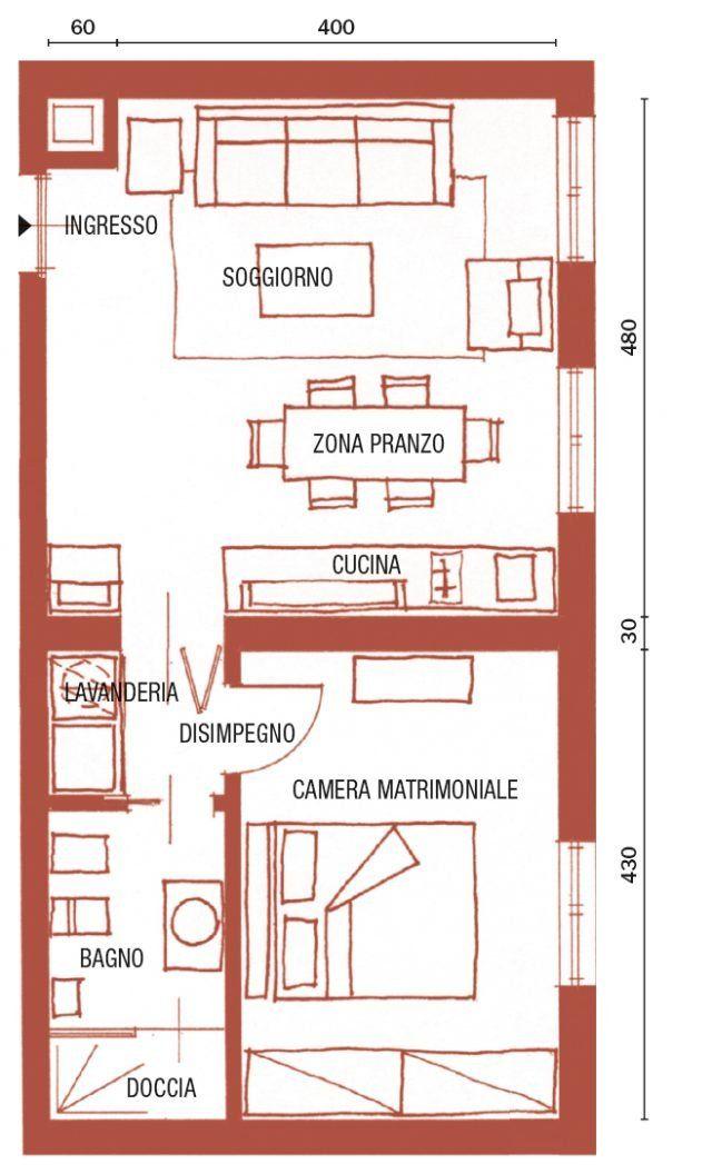 Bilocale di 43 mq mini spazi ben sfruttati, nella casa