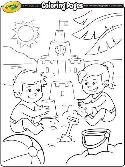 sand castle coloring pages Building Sand Castle Coloring Page. | Kid Crafts for Summer  sand castle coloring pages