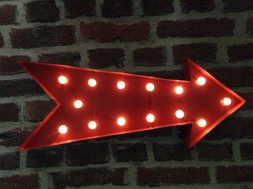 led carnival circus light up birthday celebration red arrow symbol sign large 50 cm metal
