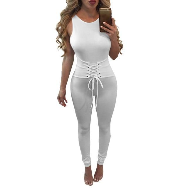e8ff89cf41 Nadafair Sleeveless Open Back Lace Up Slim Bodycon Skinny Summer Rompers  Women Jumpsuit
