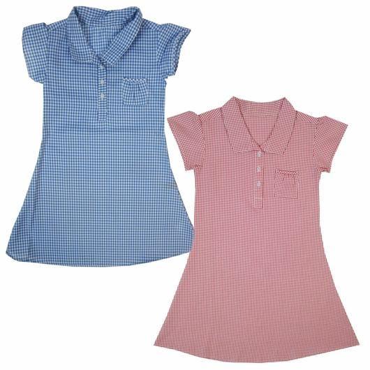ba841918a Girls Blue Red Green Gingham Checked School Dress Uniform 3 4 5 6 7 8 9