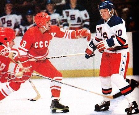Boris Mikhailov Gary Suter 1980 Olympics Ussr Vs Us Olympic Hockey Ice Hockey Usa Hockey