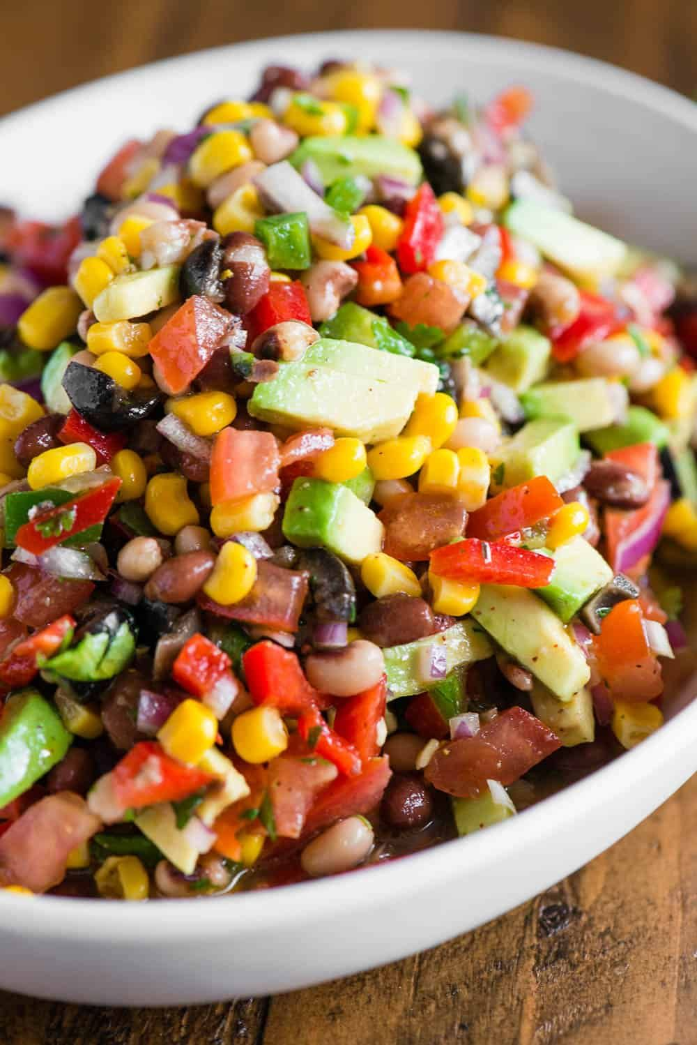 Cowboy Caviar, also known as Texas Caviar, is a cold salad recipe consisting of black eyed peas, a