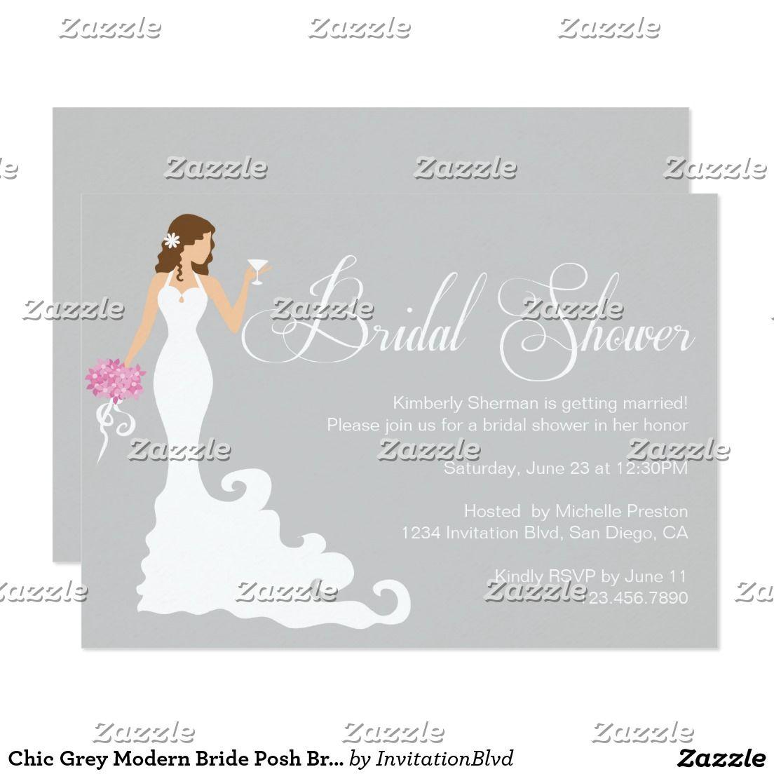 Chic Grey Modern Bride Posh Bridal Shower Invite