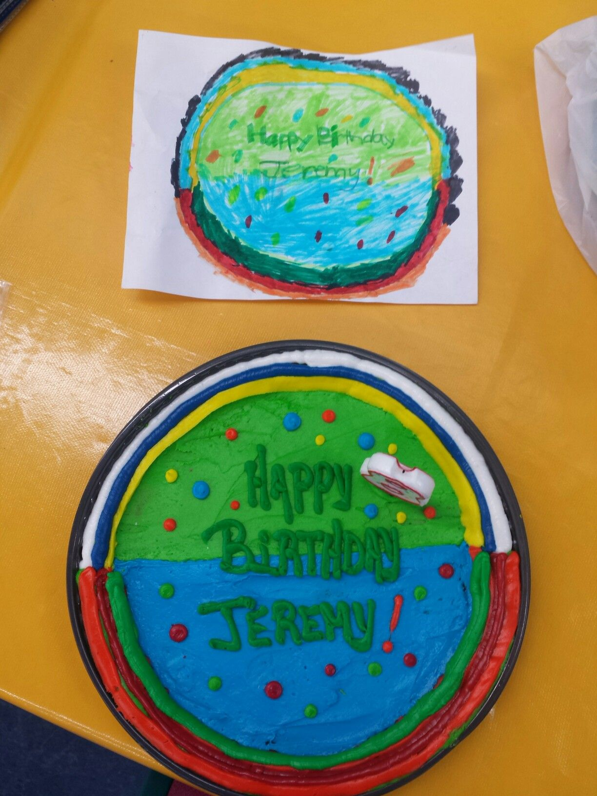 I had my son design his 8th birthday cookie cake and Jewel