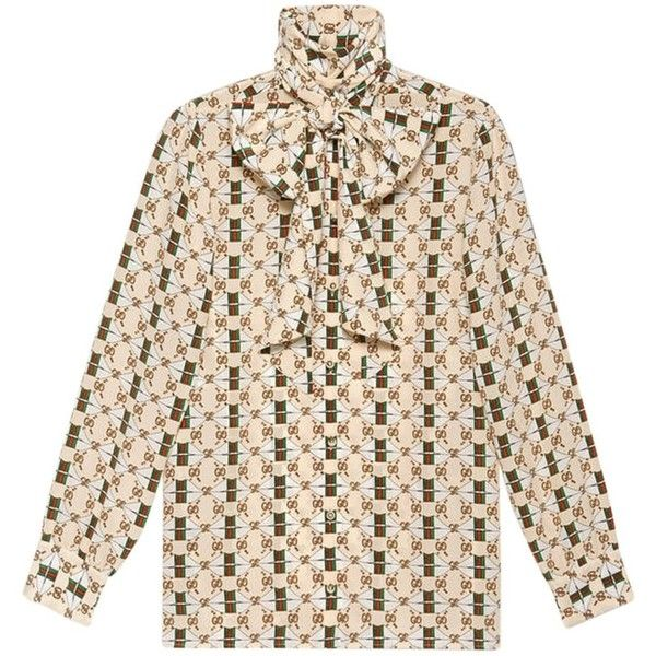 c48c061d3f3d Gucci Silk Shirt with Web Kisses Print ($1,300) ❤ liked on Polyvore  featuring tops, clothing /, kirna zabete, silk tops, lip print top, gucci  shirt, gucci ...