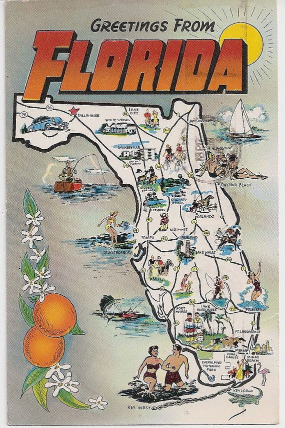 Florida Tourist Map Postcard Vintage Greetings From Florida