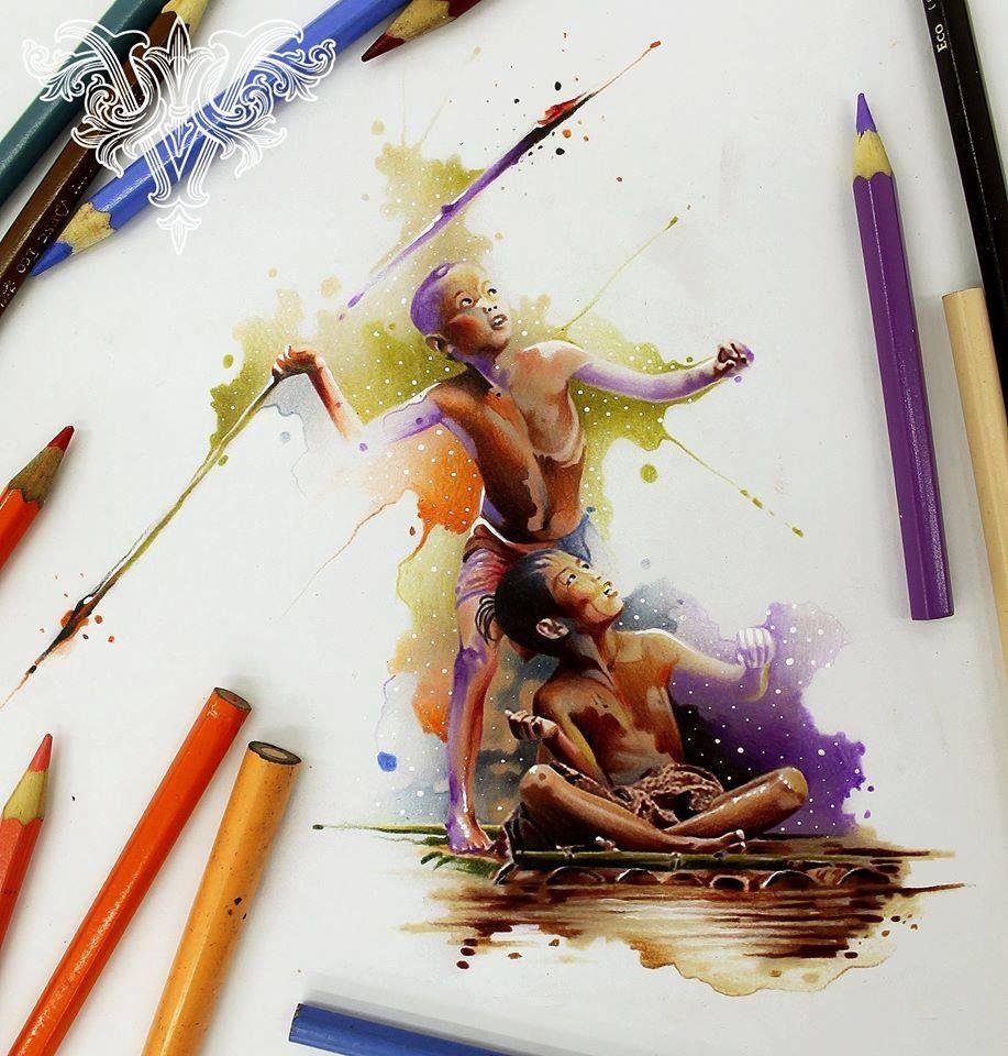 Drawings Works By Vareta Aquarela Arte De Lapis De Cor Arte Em