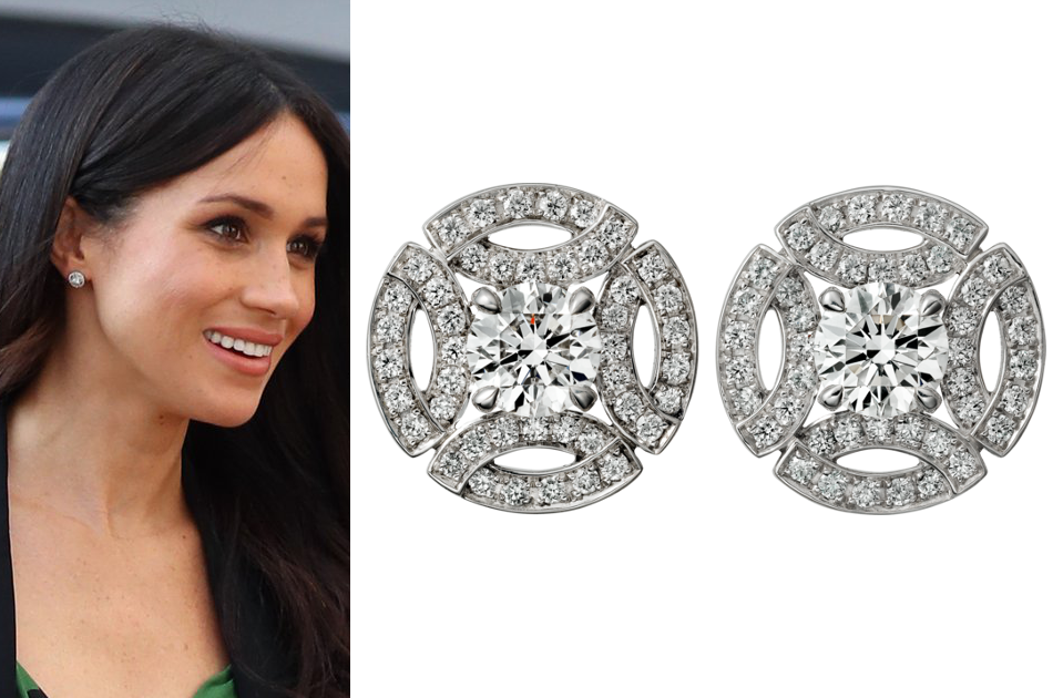 Cartier White Gold and Diamond Galanterie Stud Earrings , Meghan Markle\u0027s  Jewelry