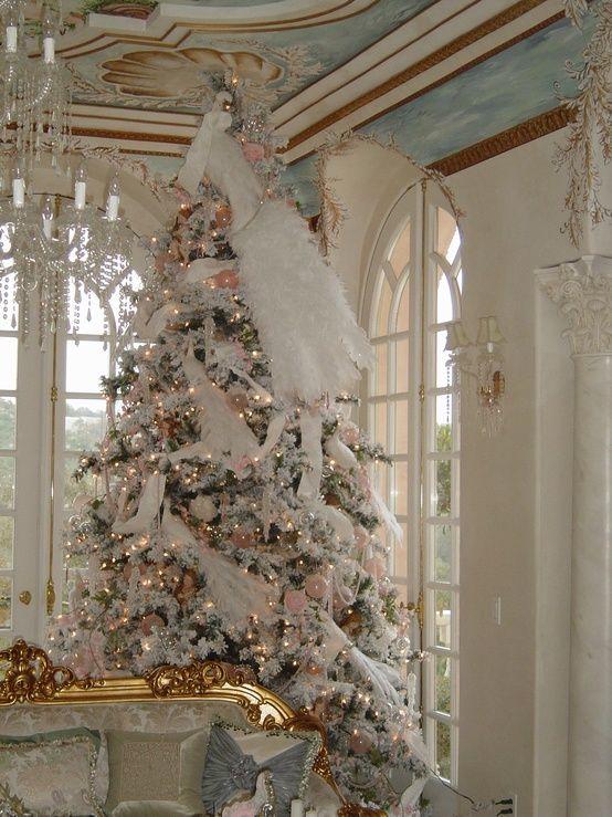 Elegant white peacock Christmas tree Christmas decorating