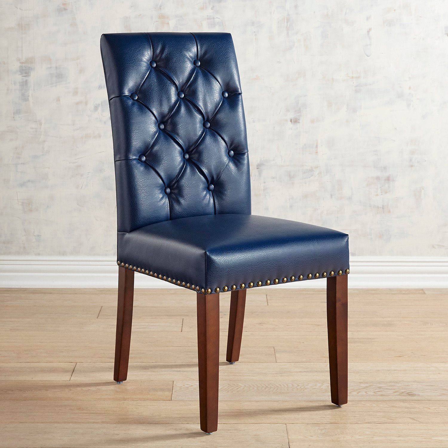 Hudson Navy Blue Vegan Leather Dining Chair With Walnut Brown Wood