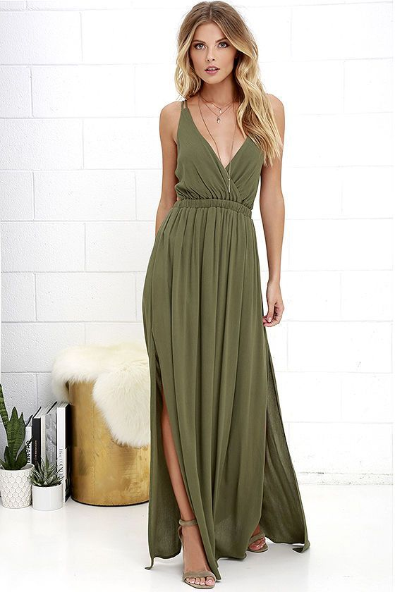 Lost in paradise olive green maxi dress green maxi for Olive green wedding dresses