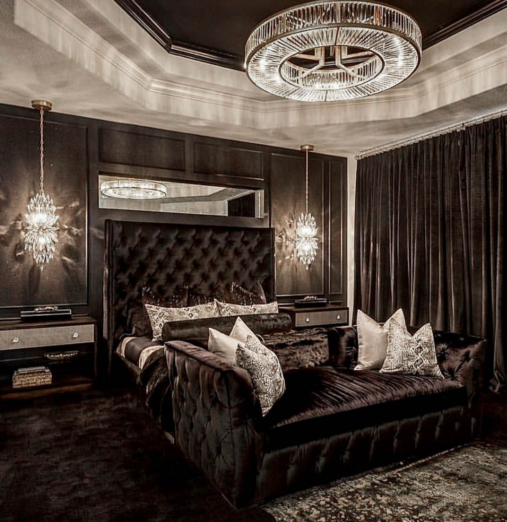 Stunning All Black And Gold Luxury Glam Bedroom Decor With Black Tufted Bed Glam Bedroom Decor Black Bedroom Decor Luxurious Bedrooms
