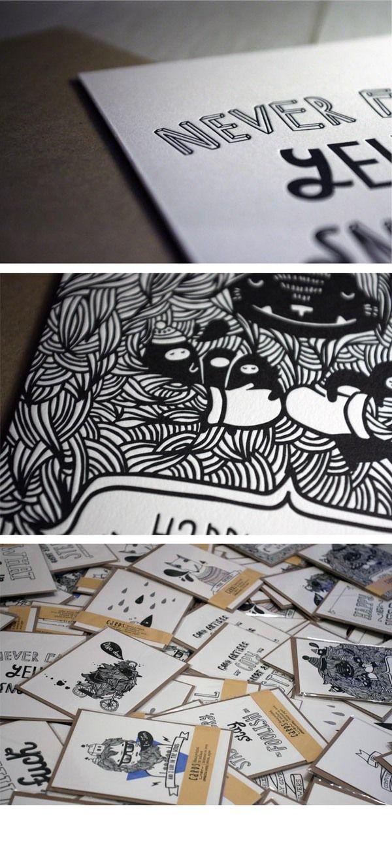 Letterpress cards. by Svetlana Lomakina, via Behance