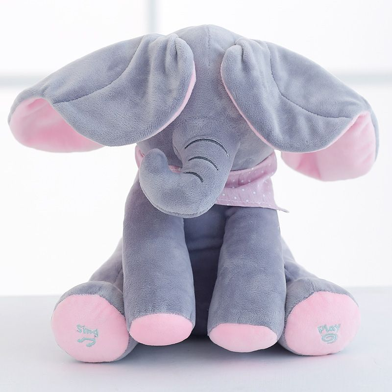 New Style Peek a Boo Elephant Stuffed Animal Plush Toy Play Music Elephant Doll