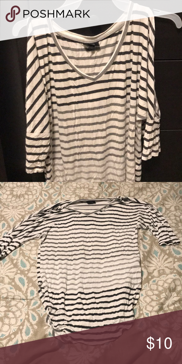 bfcd8ae424a5f Black and white cold shoulder top Cute black and white striped mid sleeve  shirt Size is