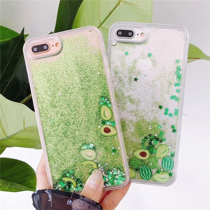 Bling Glitter watermelon Avocado Phone Case iPhone X XR XS 6 7 8 6S plus
