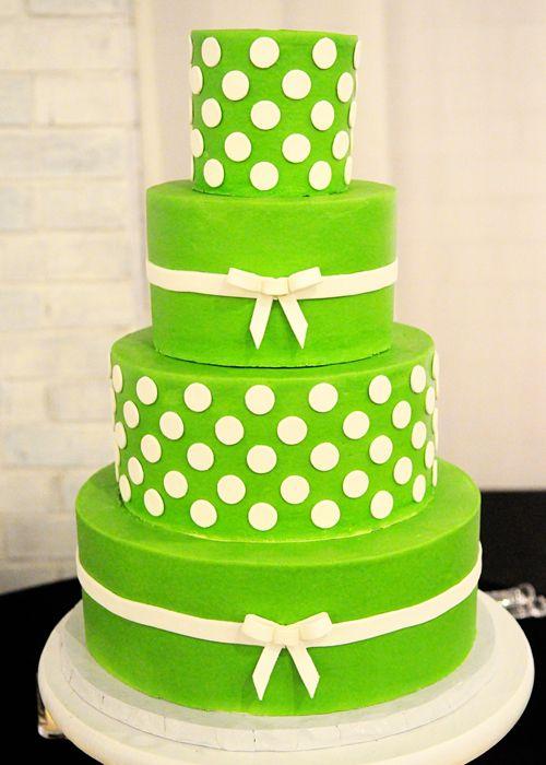 customweddingcakegreenwhitepolkadotsbowsjpg Piece of Cake