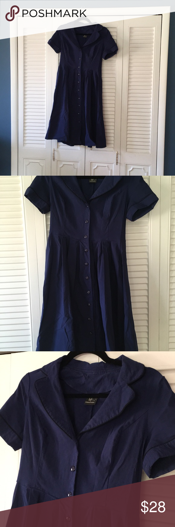 Navy retro waitress/workday dress Workday dress, Dresses