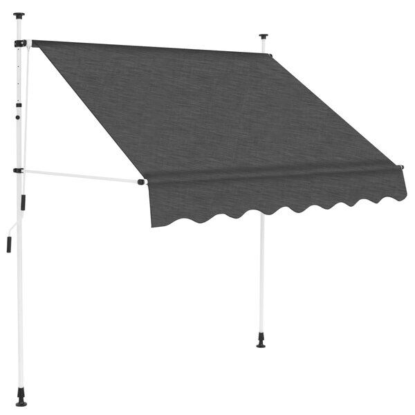 Amini 5 W X 4 D Manual Retraction Slope Patio Awning In Anthracite In 2020 Retractable Awning Patio Awning Awning