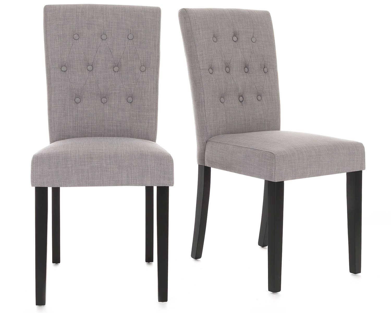 Florence Dining Chair In Grey Linen With Black Legs Dining