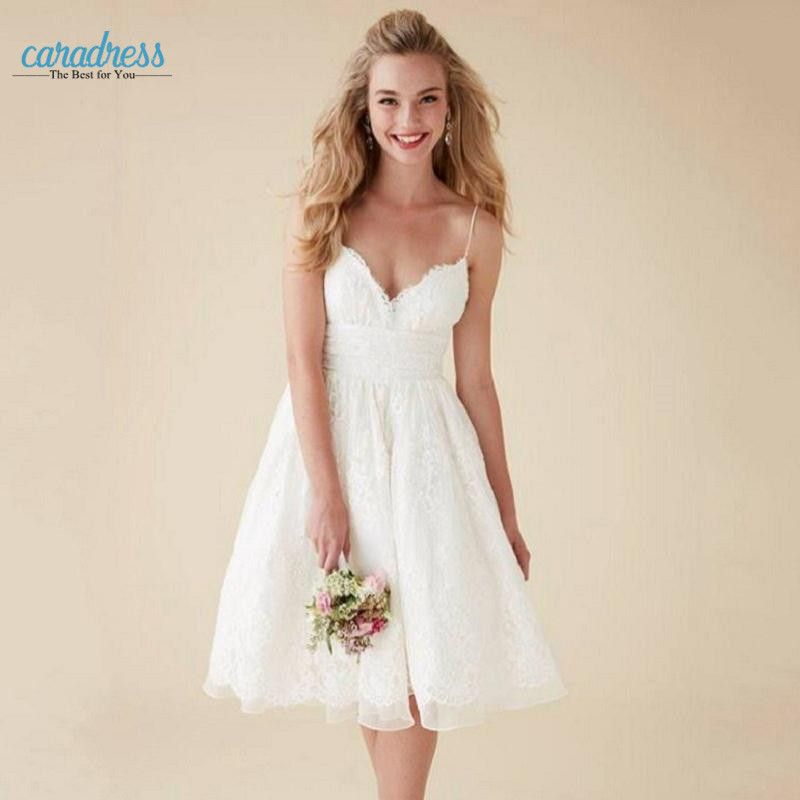 Find More Wedding Dresses Information About 2017 Lace Ivory Short Bohemian Spaghetti Strap Cheap