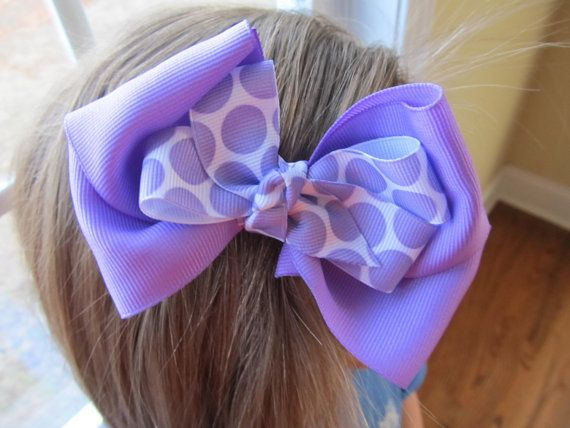 Double Layered Lavender Boutique Bow purple by BusyBellaBoutique, $6.00