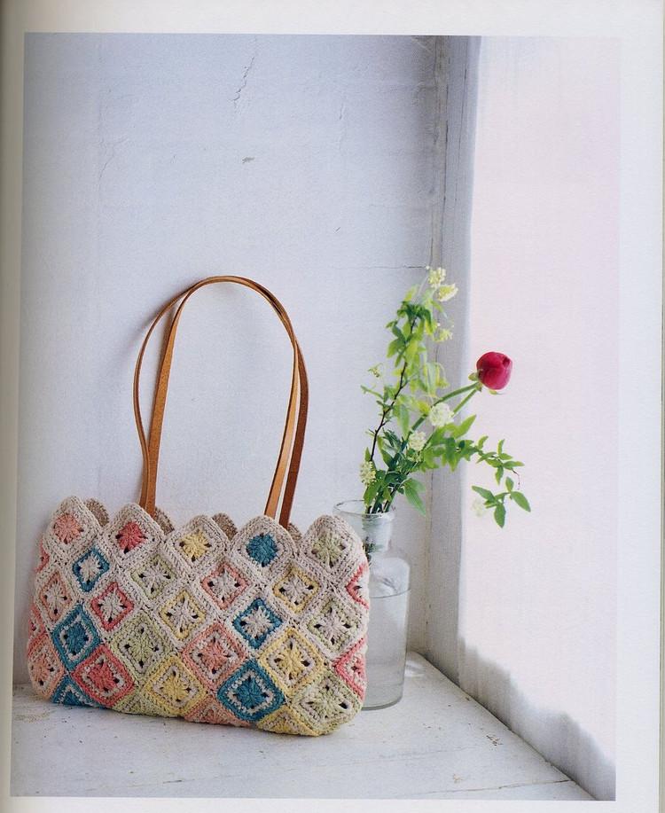 patrones crochet bolso de cuadrados paso a paso