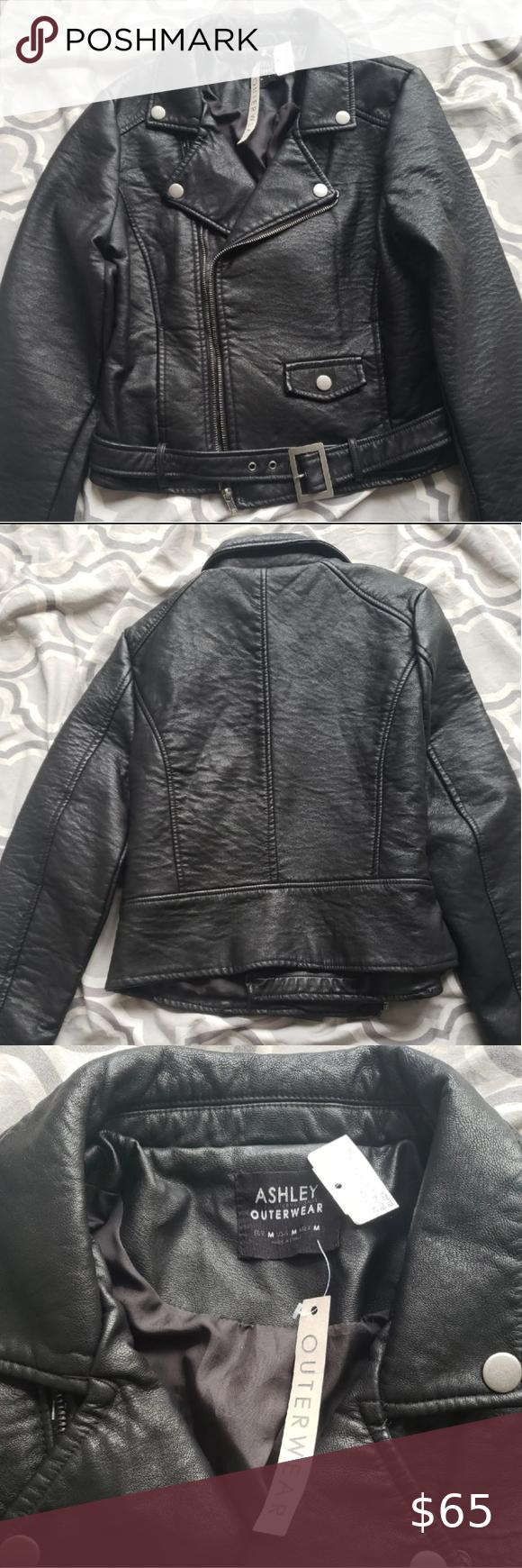 Black Faux Leather Biker Moto Jacket Faux Leather Biker Jacket Outerwear Jackets Jackets [ 1740 x 580 Pixel ]