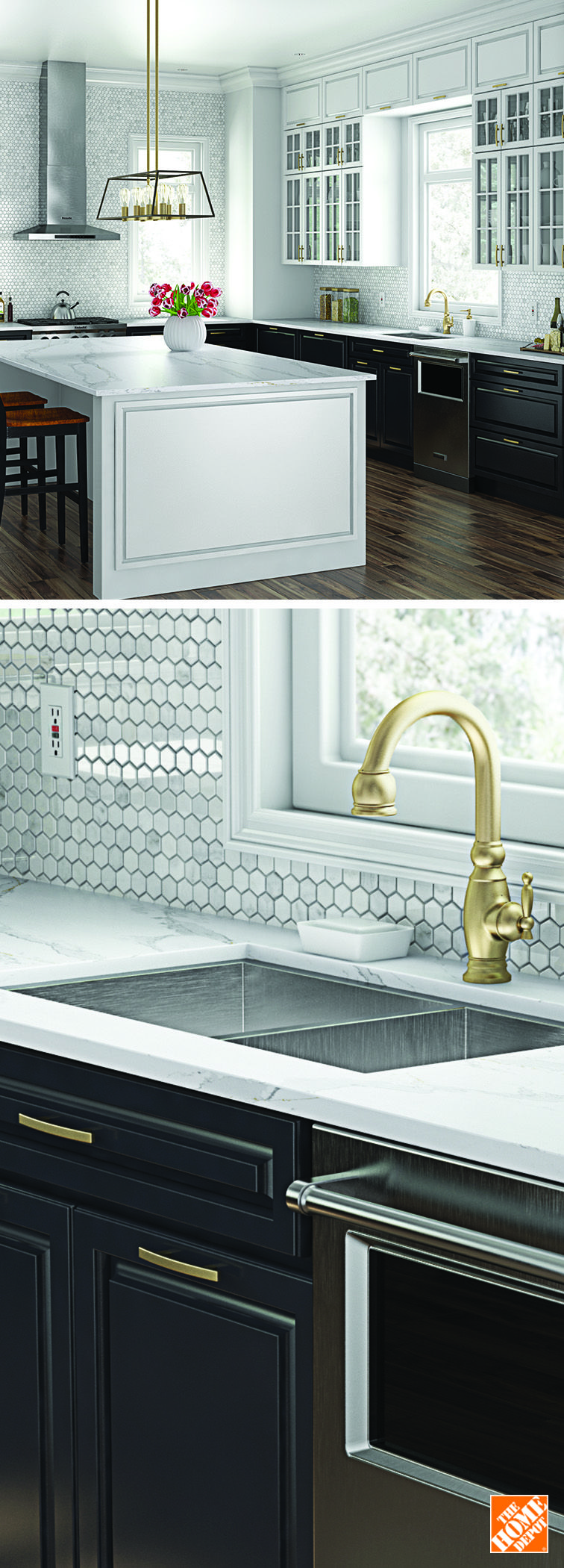 For a gothic revival look, pair a brass faucet with dark cabinets ...
