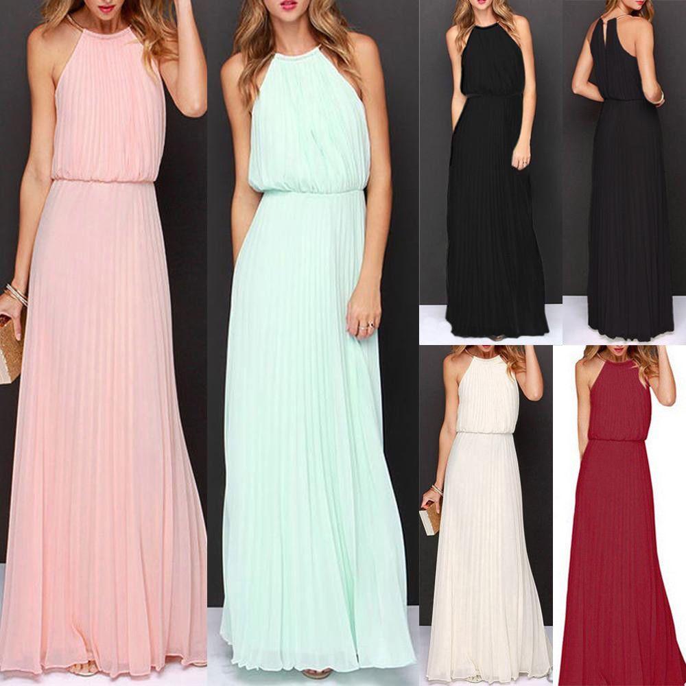 Womens formal long chiffon prom evening bridesmaid wedding ball gown