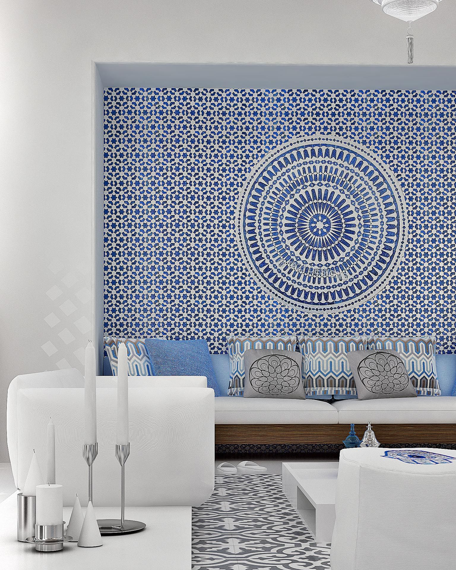 Greek Living Room With Built In Bench Seating Love The Blue Wall Mural Mimar