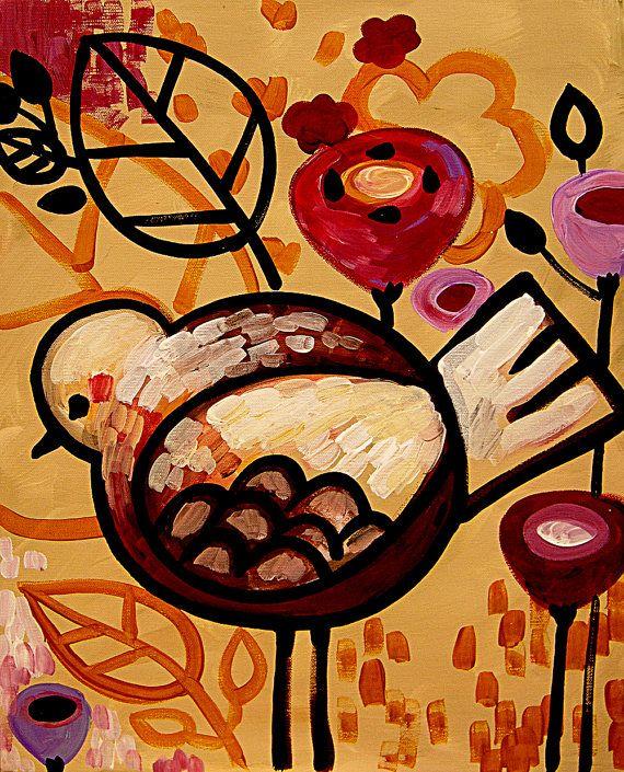 Bird Art Print Contemporary Pop Garden 8 x 10 Raven by wescoatart, $18.00