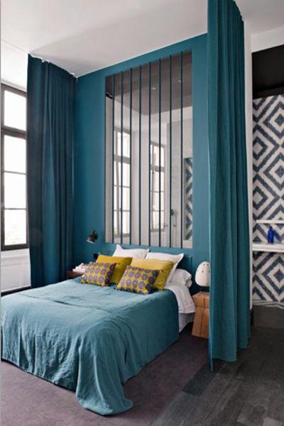 Chambre Bleu Canard, Linge De Lit Bleu Et Moutarde, Rideau Bleu