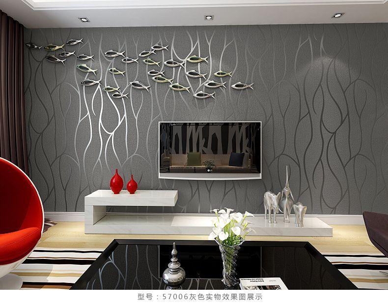Hot selling 3D Mural wallpaper modern striped flock wall paper - tapete modern